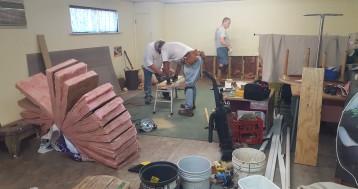 Renovation stalwarts Mel Sanders, Garth Hillman, and Milt Nielsen